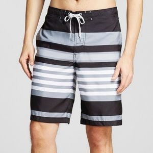 Men's Stripe Swim Trunks Gray - Merona
